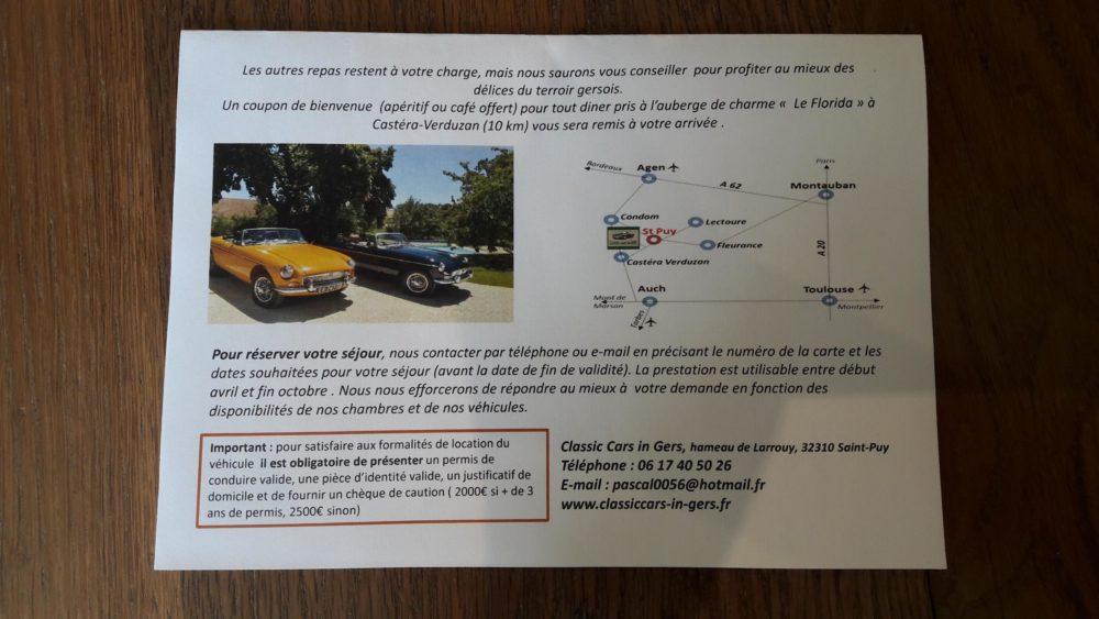 Classic Cars in Gers carte cadeau verso