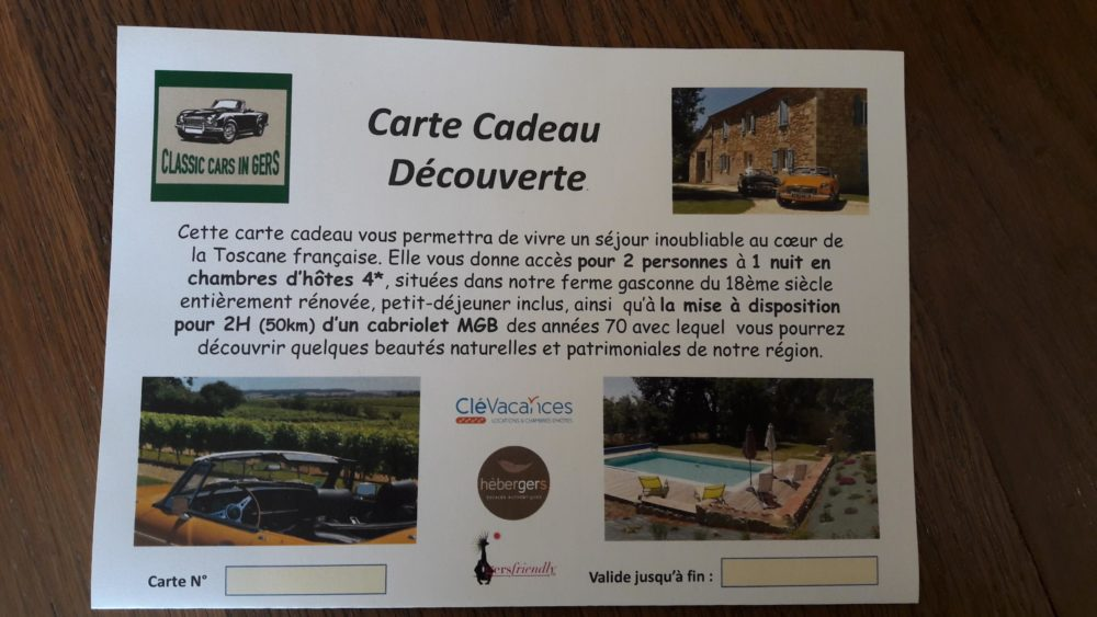 Classic Cars in Gers carte cadeau recto