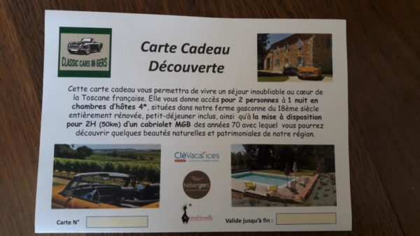 Classic Cars in Gers carte cadeau
