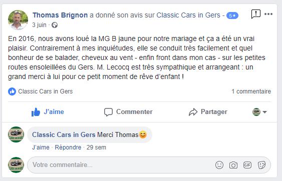 Avis Facebook Classic Cars in Gers 1